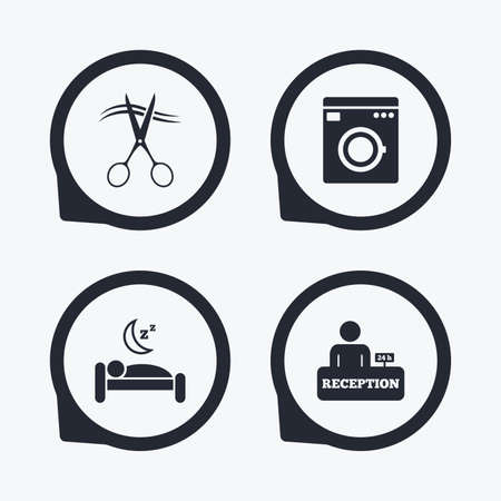 quiet: Hotel services icons. Washing machine or laundry sign. Hairdresser or barbershop symbol. Reception registration table. Quiet sleep. Flat icon pointers.