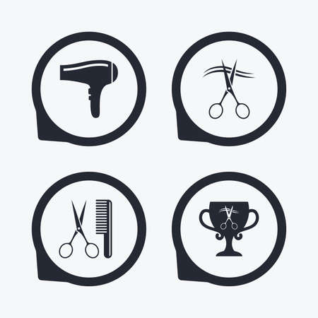 Hairdresser icons. Scissors cut hair symbol. Comb hair with hairdryer symbol. Barbershop winner award cup. Flat icon pointers. Illustration