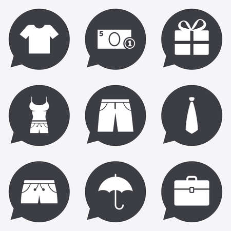 t shirts: Clothing, accessories icons. T-shirt, business case signs. Umbrella and gift box symbols. Flat icons in speech bubble pointers.
