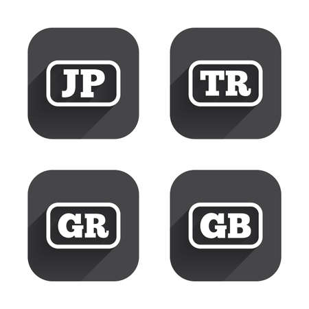 tr: Language icons. JP, TR, GR and GB translation symbols. Japan, Turkey, Greece and England languages. Square flat buttons with long shadow.