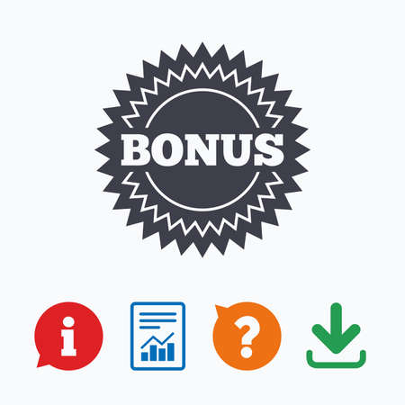 download: Bonus sign icon. Special offer star symbol. Information think bubble, question mark, download and report.