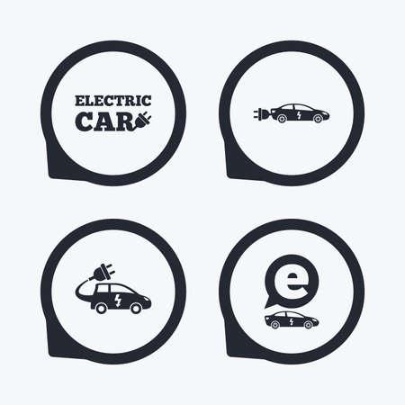 sedan: Electric car icons. Sedan and Hatchback transport symbols. Eco fuel vehicles signs. Flat icon pointers.