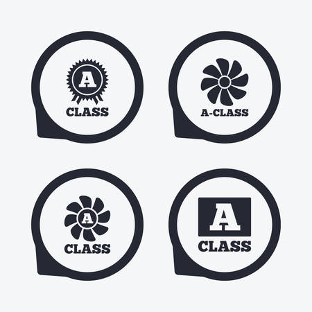 economy class: A-class award icon. A-class ventilation sign. Premium level symbols. Flat icon pointers.