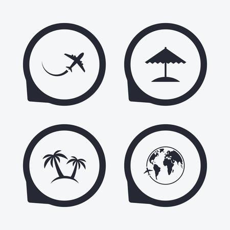 airplane world: Travel trip icon. Airplane, world globe symbols. Palm tree and Beach umbrella signs. Flat icon pointers. Illustration
