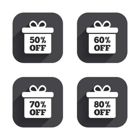 50 to 60: Sale gift box tag icons. Discount special offer symbols. 50%, 60%, 70% and 80% percent off signs. Square flat buttons with long shadow. Illustration
