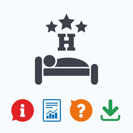 travel star: Three star Hotel apartment sign icon. Travel rest place. Sleeper symbol. Information think bubble, question mark, download and report. Illustration