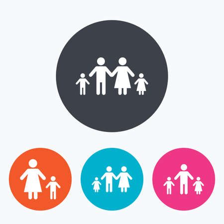 Family with two children icon. Parents and kids symbols. One-parent family signs. Mother and father divorce. Circle flat buttons with icon.