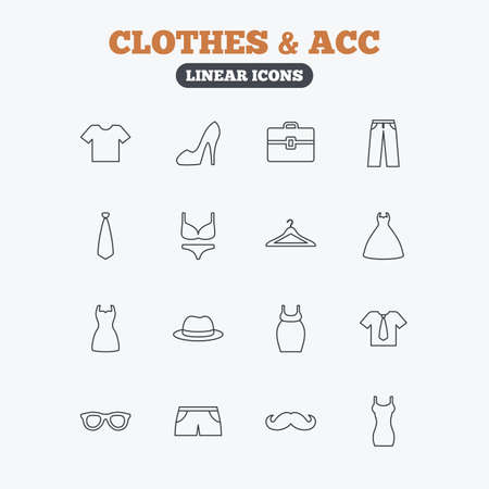 brassiere: Clothes and accessories icons. Shirt with tie, pants and woman dress symbols. Hat, hanger and glasses thin outline signs. Underwear and maternity clothes. Linear icons on white background.