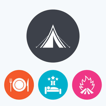 breakfast in bed: Food, sleep, camping tent and fire icons. Knife, fork and dish. Hotel or bed and breakfast. Road signs. Circle flat buttons with icon.