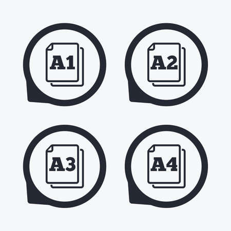 a1: Paper size standard icons. Document symbols. A1, A2, A3 and A4 page signs. Flat icon pointers.