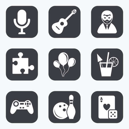 puzzle corners: Game, bowling and puzzle icons. Entertainment signs. Casino, carnival and alcohol cocktail symbols. Flat square buttons with rounded corners. Illustration