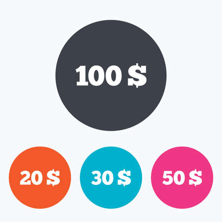 20 30: Money in Dollars icons. 100, 20, 30 and 50 USD symbols. Money signs Circle flat buttons with icon.