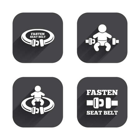 child safety: Fasten seat belt icons. Child safety in accident symbols. Vehicle safety belt signs. Square flat buttons with long shadow.