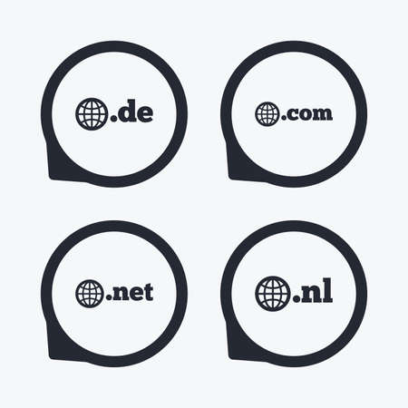 nl: Top-level internet domain icons. De, Com, Net and Nl symbols with globe. Unique national DNS names. Flat icon pointers.