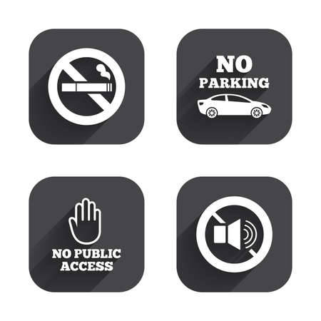 private access: Stop smoking and no sound signs. Private territory parking or public access. Cigarette and hand symbol. Square flat buttons with long shadow. Illustration