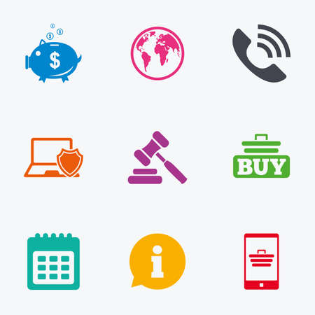 bank cart: Online shopping, e-commerce and business icons. Auction, phone call and information signs. Piggy bank, calendar and smartphone symbols. Flat colored graphic icons. Illustration