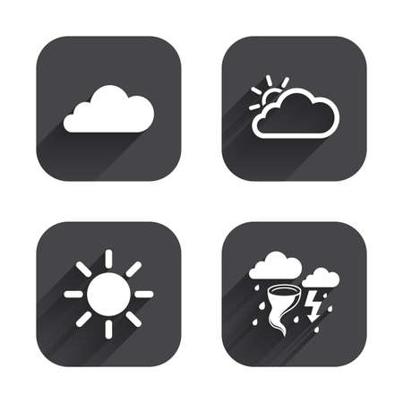 gale: Weather icons. Cloud and sun signs. Storm or thunderstorm with lightning symbol. Gale hurricane. Square flat buttons with long shadow. Illustration