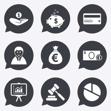 auction: Money, cash and finance icons. Piggy bank, credit card and auction signs. Presentation, pie chart and businessman symbols. Flat icons in speech bubble pointers.
