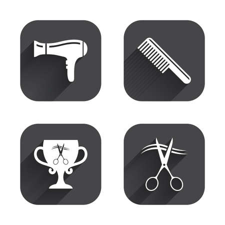 blow drying: Hairdresser icons. Scissors cut hair symbol. Comb hair with hairdryer symbol. Barbershop winner award cup. Square flat buttons with long shadow. Illustration