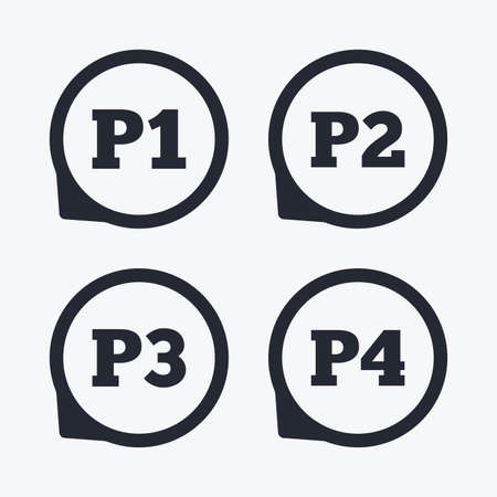 second floor: Car parking icons. First, second, third and four floor signs. P1, P2, P3 and P4 symbols. Flat icon pointers. Illustration