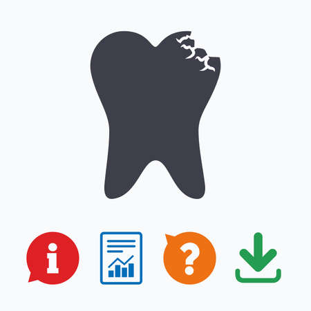 stomatologist: Broken tooth icon. Dental care sign symbol. Information think bubble, question mark, download and report. Illustration