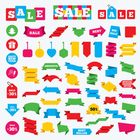 label tag: Web stickers, banners and labels. Happy new year icon. Christmas tree and gift box signs. Fireworks rocket symbol. Price tags set.