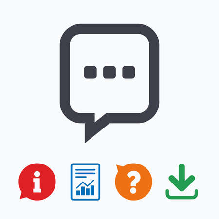 three dots: Chat sign icon. Speech bubble with three dots symbol. Communication chat bubble. Information think bubble, question mark, download and report. Illustration