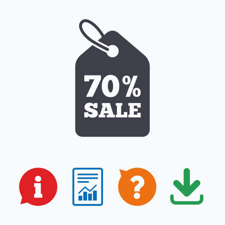 tag: 70% sale price tag sign icon. Discount symbol. Special offer label. Information think bubble, question mark, download and report.