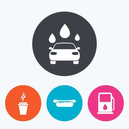 hotdog: Petrol or Gas station services icons. Automated car wash signs. Hotdog sandwich and hot coffee cup symbols. Circle flat buttons with icon. Illustration