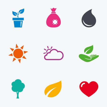 bag of soil: Garden sprout, leaf icons. Nature and weather signs. Sun, cloud and tree symbols. Flat colored graphic icons. Illustration