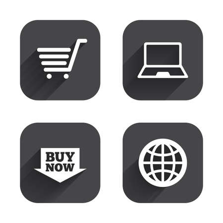 ultrabook: Online shopping icons. Notebook pc, shopping cart, buy now arrow and internet signs. WWW globe symbol. Square flat buttons with long shadow.