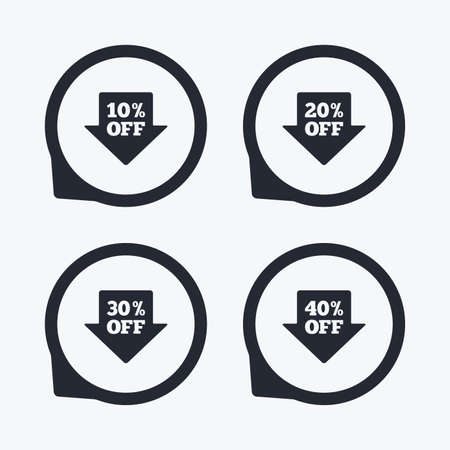 20 30: Sale arrow tag icons. Discount special offer symbols. 10%, 20%, 30% and 40% percent off signs. Flat icon pointers.