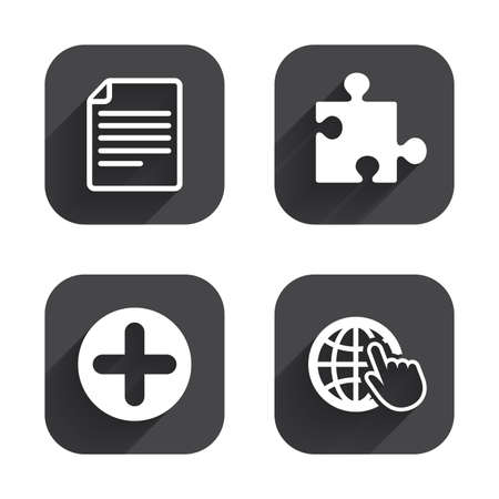 globe puzzle: Plus add circle and puzzle piece icons. Document file and globe with hand pointer sign symbols. Square flat buttons with long shadow.