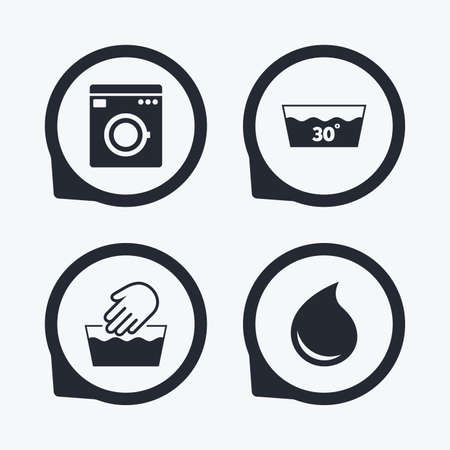 washhouse: Hand wash icon. Machine washable at 30 degrees symbols. Laundry washhouse and water drop signs. Flat icon pointers.
