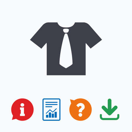 sleeves: Shirt with tie sign icon. Clothes with short sleeves symbol. Information think bubble, question mark, download and report. Illustration