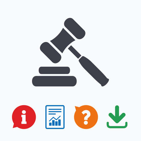 law report: Auction hammer icon. Law judge gavel symbol. Information think bubble, question mark, download and report.