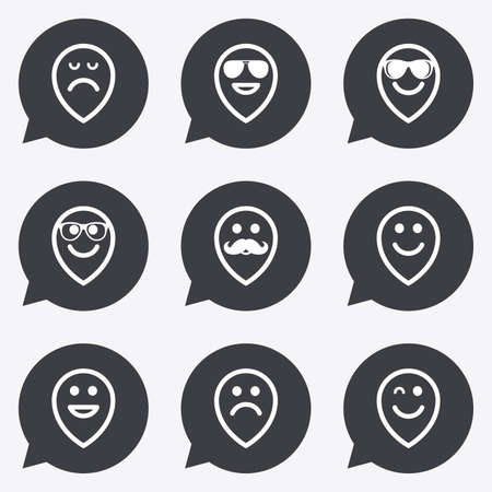 wink: Smile pointers icons. Happy, sad and wink faces signs. Sunglasses, mustache and laughing lol smiley symbols. Flat icons in speech bubble pointers.