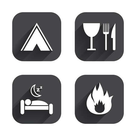 breakfast in bed: Food, sleep, camping tent and fire icons. Knife, fork and wineglass. Hotel or bed and breakfast. Road signs. Square flat buttons with long shadow.