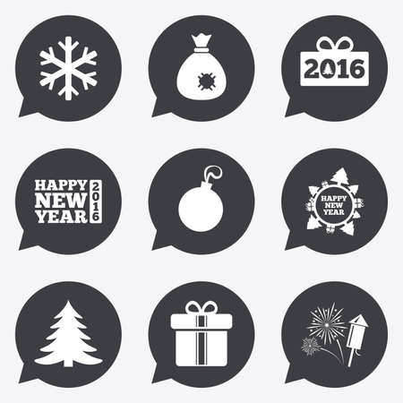 salut: Christmas, new year icons. Gift box, fireworks and snowflake signs. Santa bag, salut and decoration ball symbols. Flat icons in speech bubble pointers.