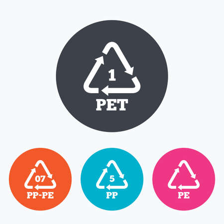 black pete: PET 1, PP-pe 07, PP 5 and PE icons. High-density Polyethylene terephthalate sign. Recycling symbol. Circle flat buttons with icon.