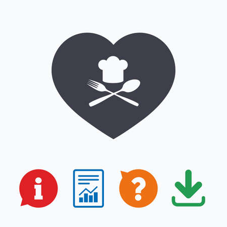 restaurant questions: Chef hat sign icon. Love Cooking symbol. Cooks hat with fork and spoon. Information think bubble, question mark, download and report.