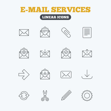 arrow icons: Mail services icons. Send mail, paper clip and download arrow symbols. Scissors, pencil and refresh thin outline signs. Receive, select and delete mail. Linear icons on white background.