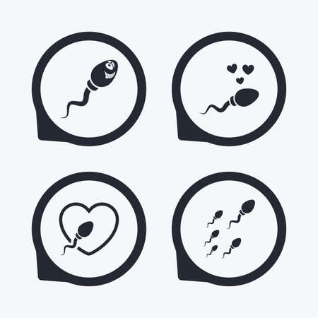 sex positions: Sperm icons. Fertilization or insemination signs. Safe love heart symbol. Flat icon pointers.