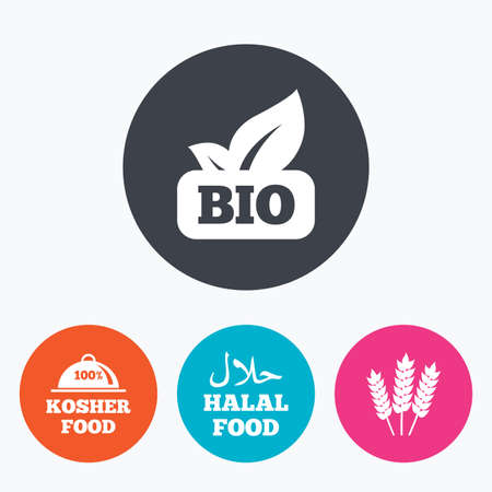 kosher: Natural Bio food icons. Halal and 100% Kosher signs. Gluten free agricultural symbol. Circle flat buttons with icon.