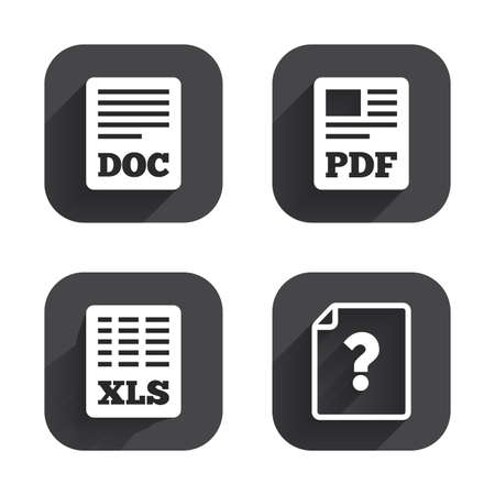 xls: File document and question icons. XLS, PDF and DOC file symbols. Download or save doc signs. Square flat buttons with long shadow. Illustration