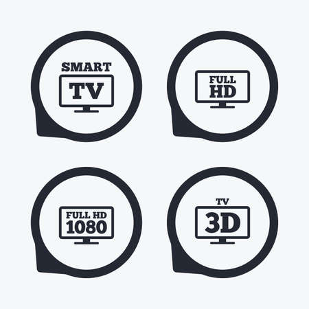 3d mode: Smart TV mode icon. Widescreen symbol. Full hd 1080p resolution. 3D Television sign. Flat icon pointers. Illustration
