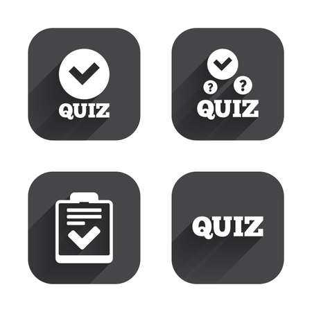 feedback form: Quiz icons. Checklist with check mark symbol. Survey poll or questionnaire feedback form sign. Square flat buttons with long shadow. Illustration