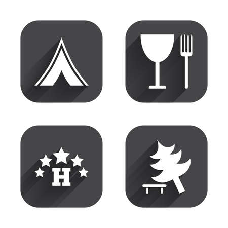 fork in road: Food, hotel, camping tent and tree icons. Wineglass and fork. Break down tree. Road signs. Square flat buttons with long shadow.