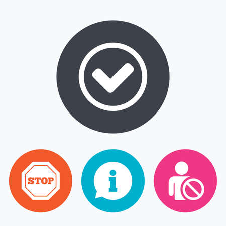 blacklist: Information icons. Stop prohibition and user blacklist signs. Approved check mark symbol. Circle flat buttons with icon. Illustration