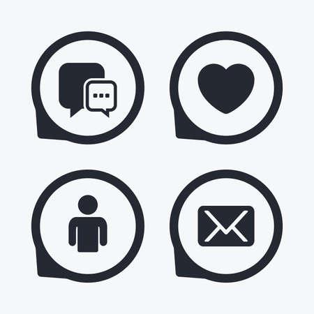position d amour: icônes de médias sociaux. bulle chat et messages électroniques symboles. Amour signe du c?ur. profil de personne humaine. Flat icon pointeurs.